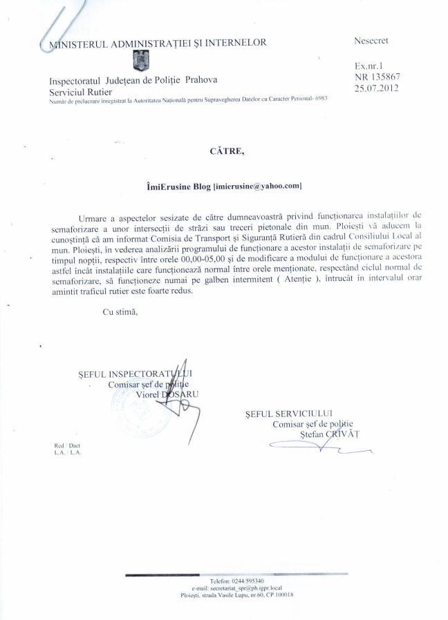 Raspuns Politie pentru imieRusine.ro